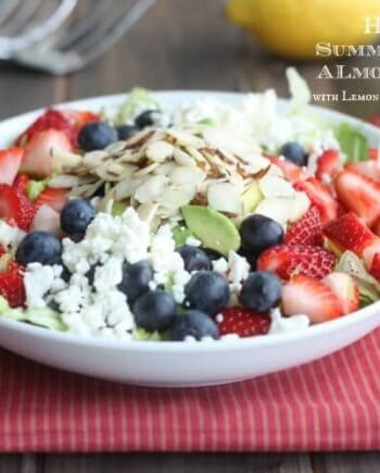 fresh berry salad in a white bowl