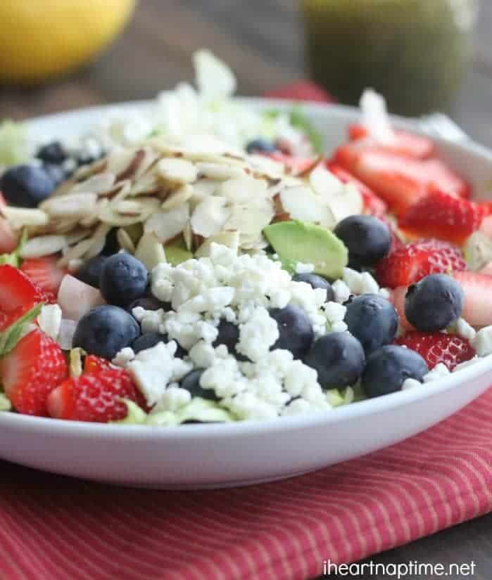 Healthy Berry Almond Chopped Salad with Lemon Poppyseed Vinaigrette