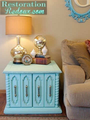 teal side table