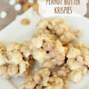 white chocolate peanut butter krispies on a white plate