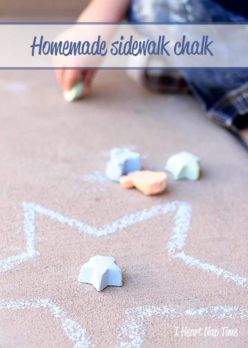 Homemade sidewalk chalk in all different shapes from iheartnaptime.com