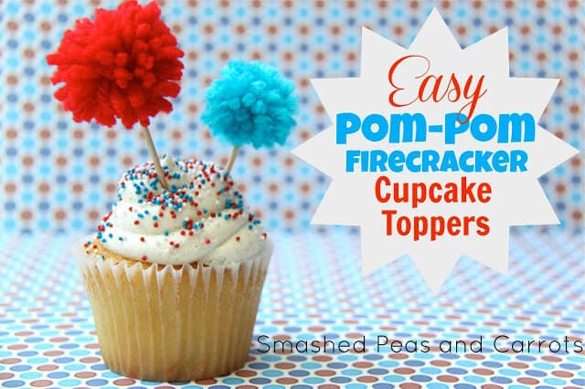 Pom-Pom firecracker cupcake toppers
