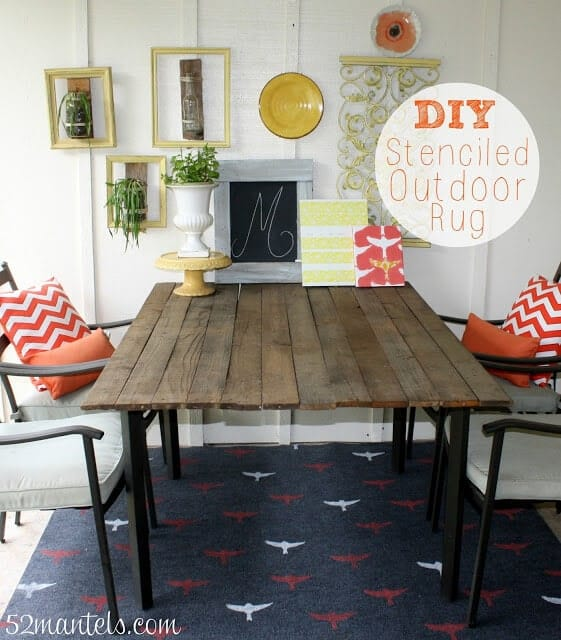 Perfect stenciled outdoor rug mantels