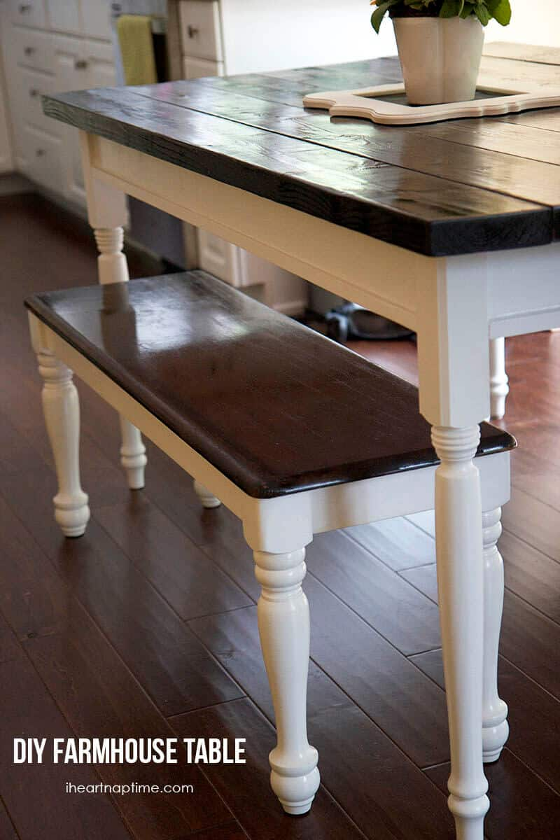 Elegant DIY farmhouse kitchen table on iheartnaptime