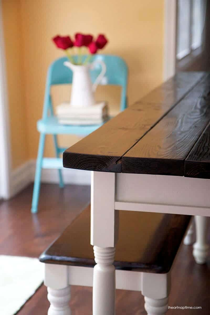 DIY farmhouse kitchen table on iheartnaptime.com