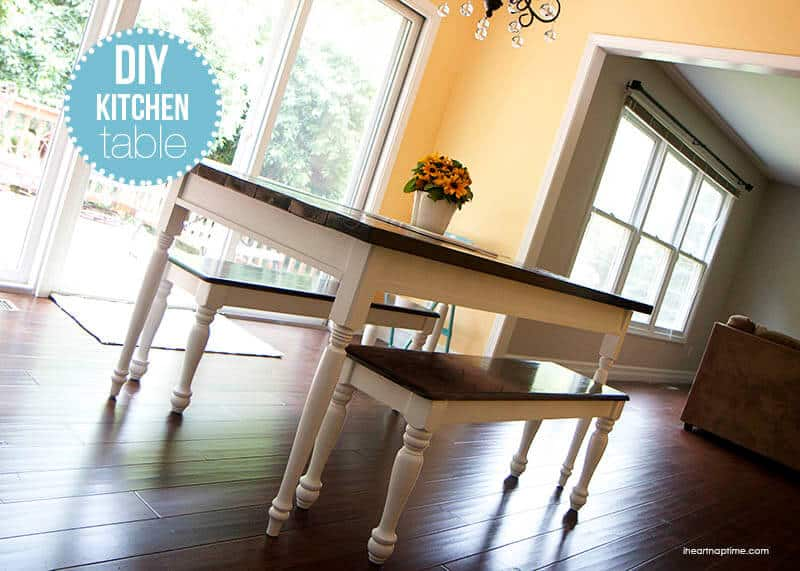 farmhouse kitchen table ideas diy painting black wooden legs