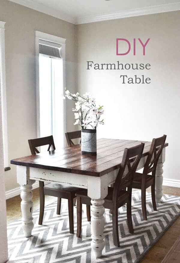 Diy farmhouse kitchen table i heart nap time for Farm style kitchen table