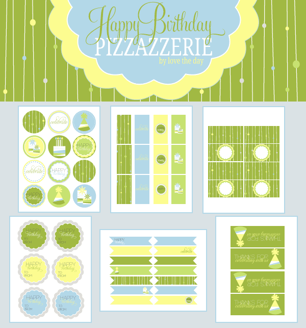 Green birthday printables