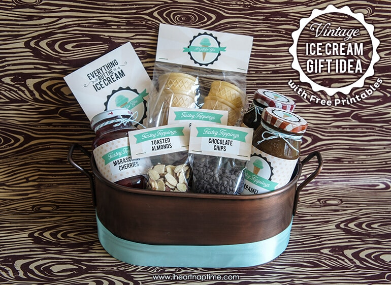 Innovative Christmas Gift Ideas: Vintage Ice Cream Gift With FREE Printables