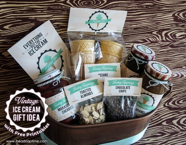 Vintage Ice Cream Gift Idea with FREE Printables on www.iheartnaptime.com