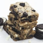 a stack of oreo cookie bars