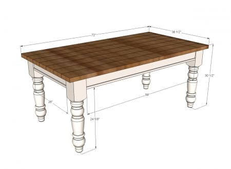 diy farmhouse table plans - Diy Dining Room Table Plans