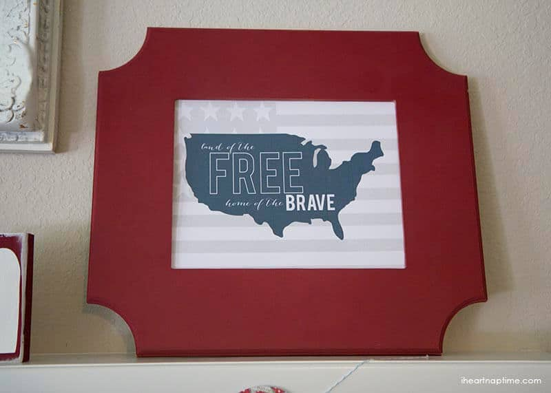 forth of july mantel + free printable
