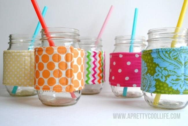 mason jars wrapped in cozies