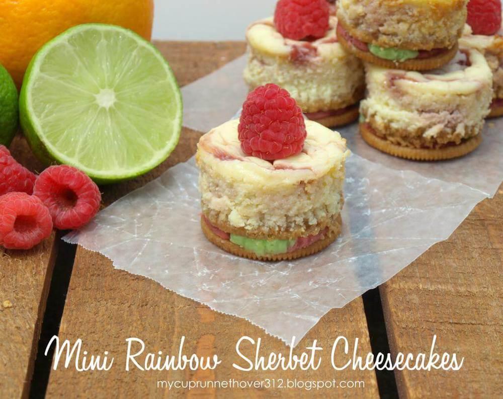 mini rainbow sherbert cheesecakes