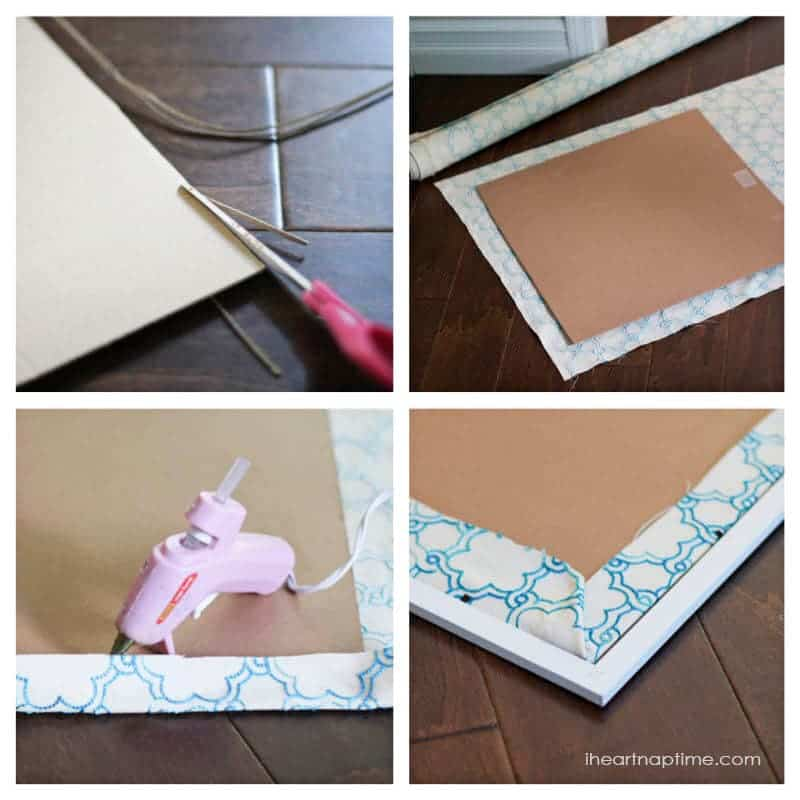 diy fabric art on iheartnaptimecom super easy way to fill a - Diy Cardboard Picture Frame