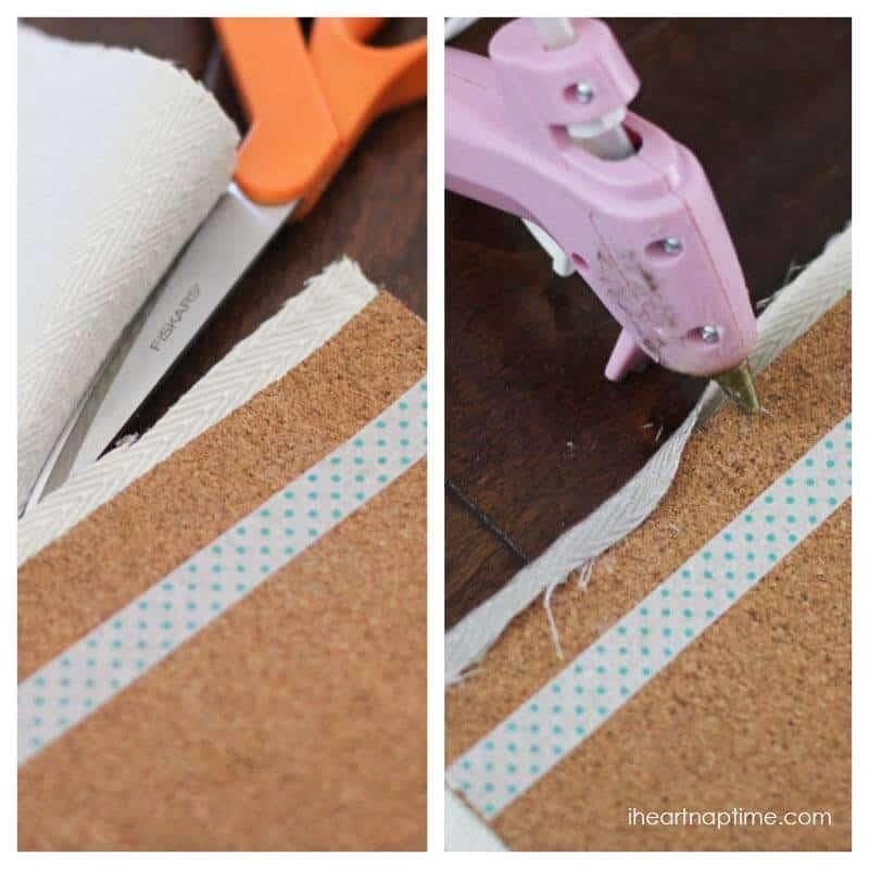DIY fabric cork board tutorial on iheartnaptime.com