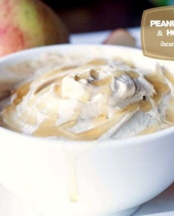 peanut butter and honey dip in a white bowl