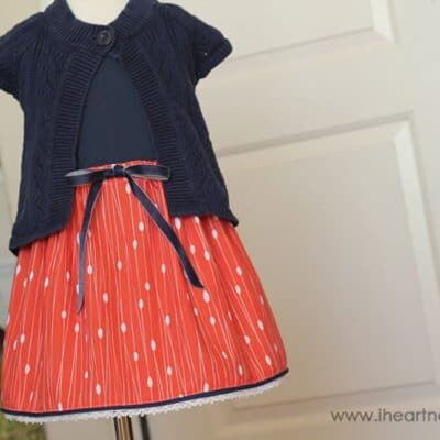 Cute sewing tutorial to make a girl's skirt with trim on the hem.