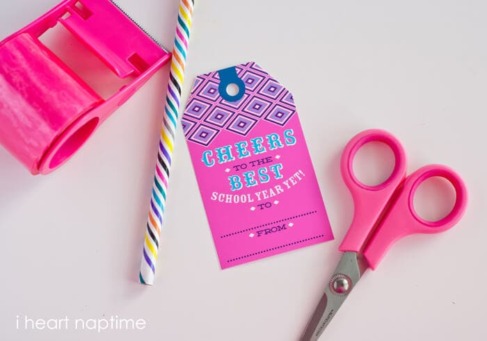 """""""Cheers to the Best School Year Ever!"""" Printable Tag"""