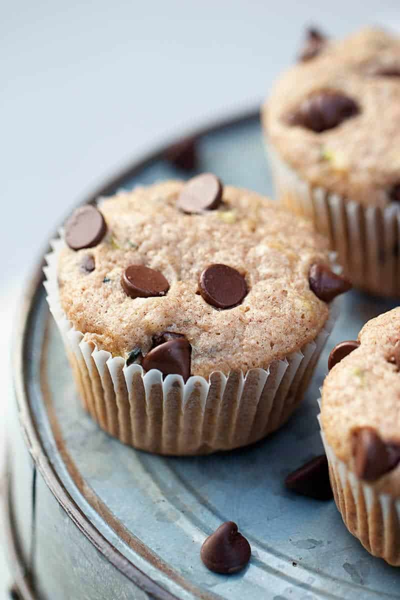 Chocolate chip zucchini muffins featured on Better Homes and Garden