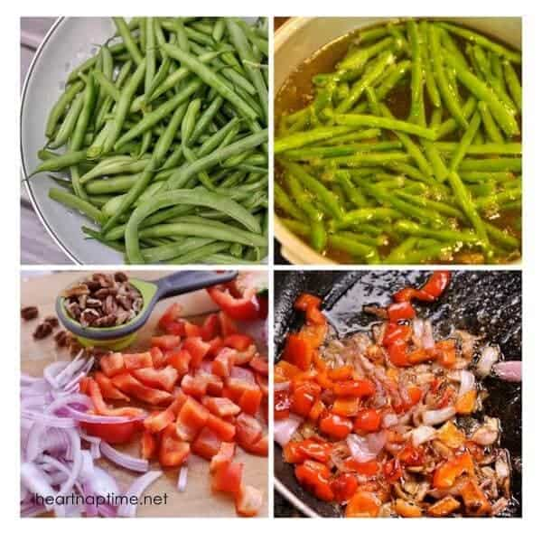 collage showing how to make green beans