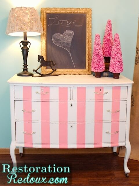 pink striped dresser makeover