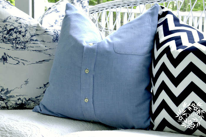 repurposed shirt pillow cover