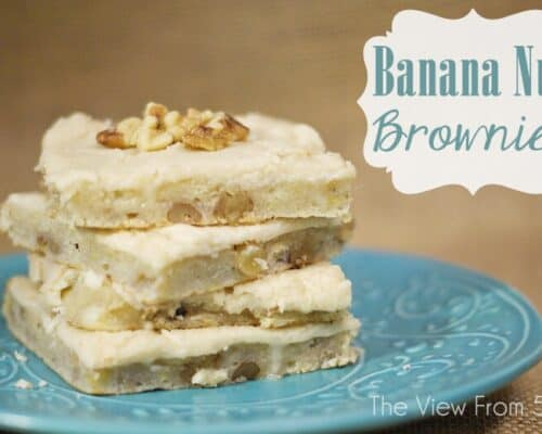 a stack of banana nut brownies
