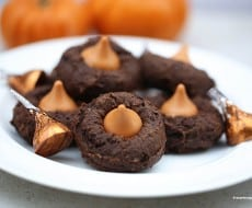 Chocolate pumpkin kiss cookies