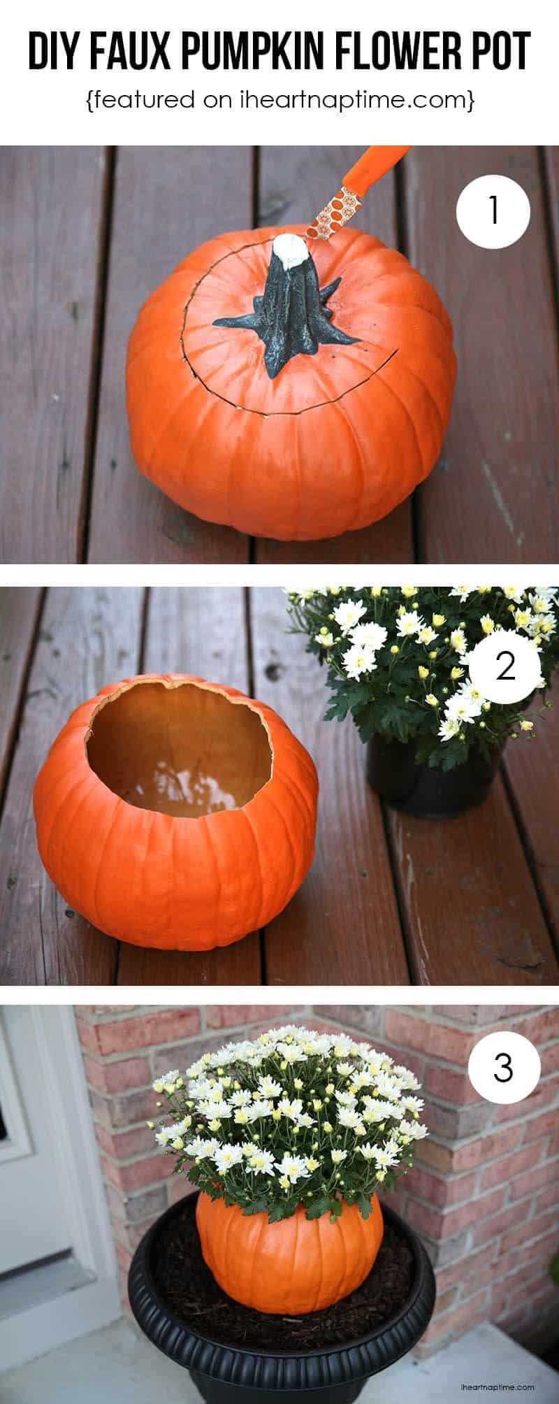 diy pumpkin flower pot i heart nap time