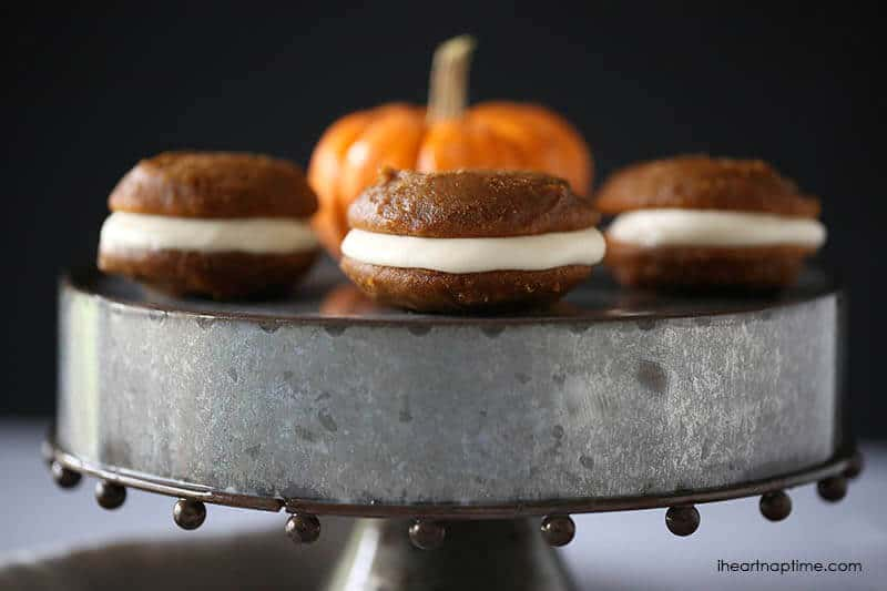 A close up of pumpkin whoopie pies