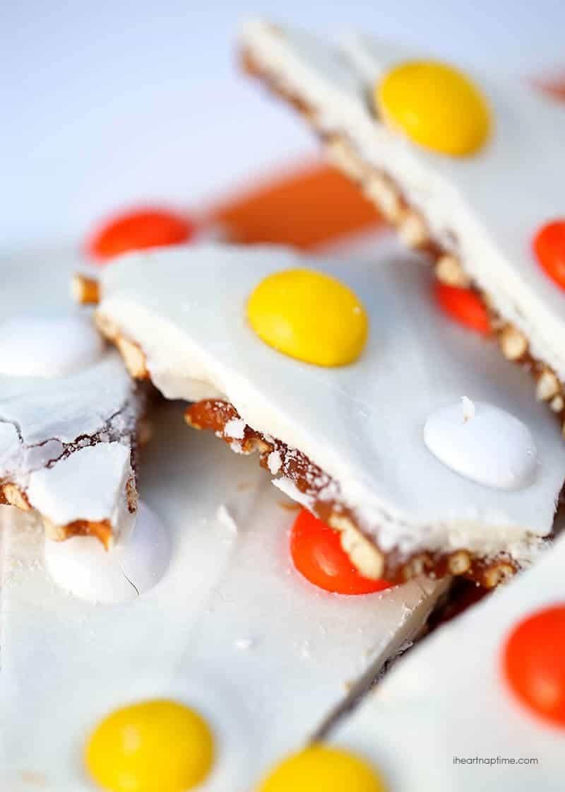 A close up of salted caramel candy corn bark