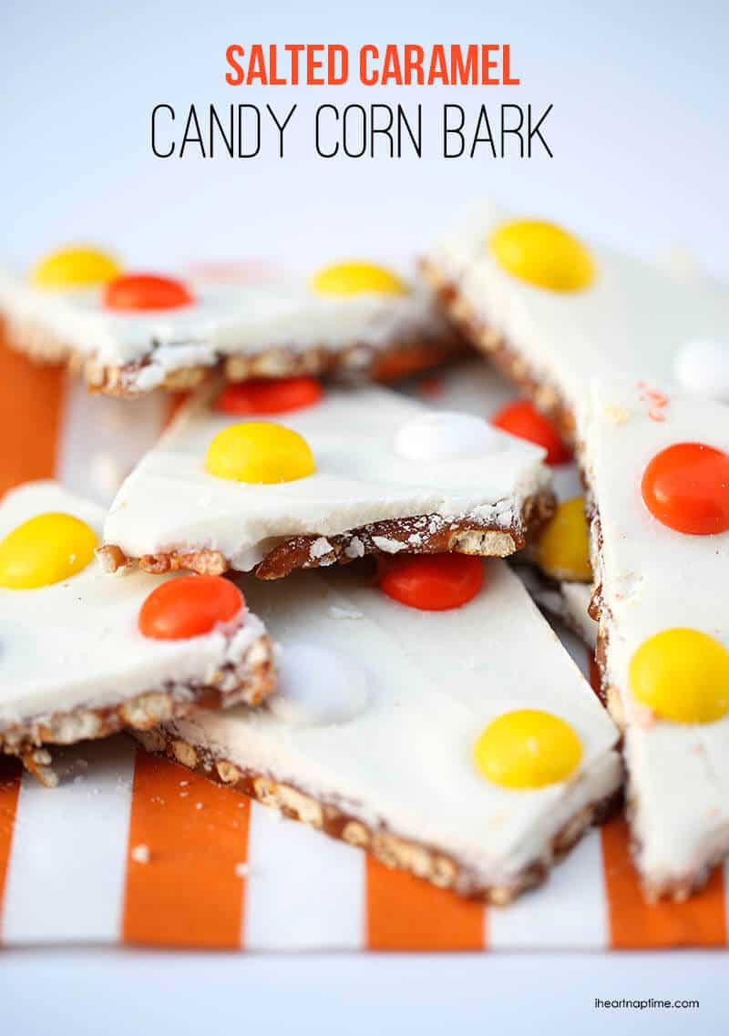Salted caramel candy corn bark