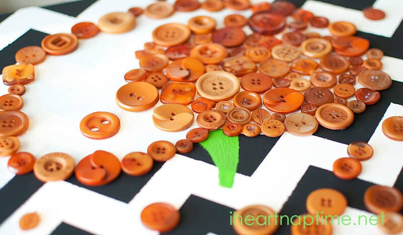 DIY Pumpkin Canvas Art with Buttons