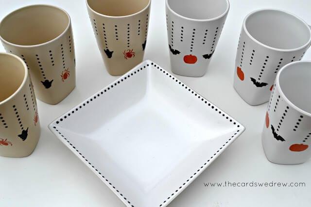 halloween+mugs+and+platter+thecardswedrew