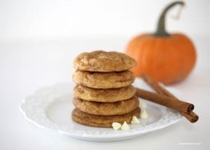 pumpkin snickerdoodle cookies with white chocolate chips... seriously divine!