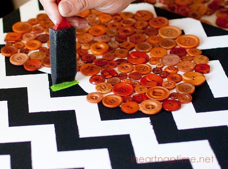 DIY Pumpkin Canvas Art with Buttons