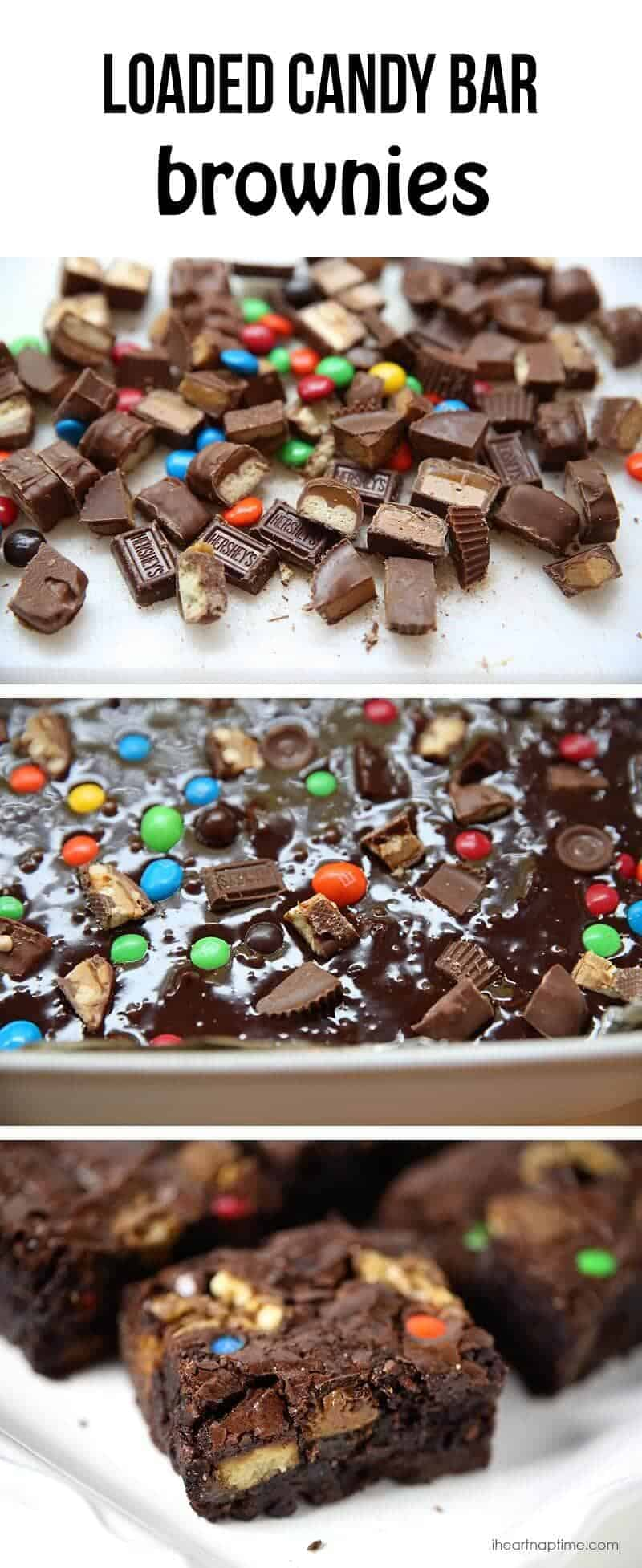 Loaded candy bar brownies on I Heart Nap Time b