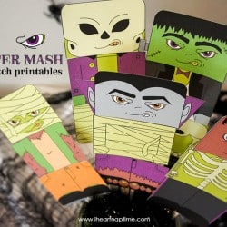Monster Mash Mix and Match Printables on www.iheartnaptime.com #freeprintables #halloweenprintables #monsterprintables