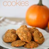 pumpkin pudding cookies on a white plate