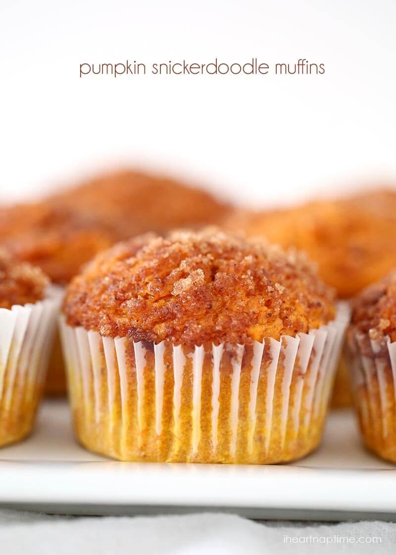 Pumpkin snickerdoodle muffins made from a cake mix! These are so good! #pumpkin #recipes