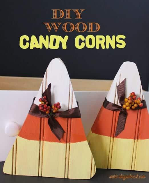 DIY wood candy corn