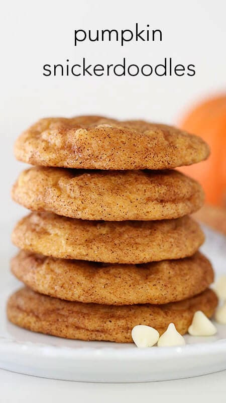 Pumpkin snickerdoodles with white chocolate chips... super soft with the perfect pumpkin spice flavor. My favorite fall dessert!