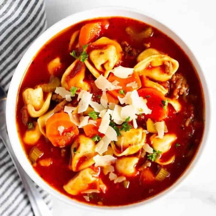 bowl of sausage tortellini soup