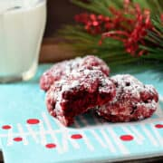 red velvet gooey butter cookies with a bite taken out
