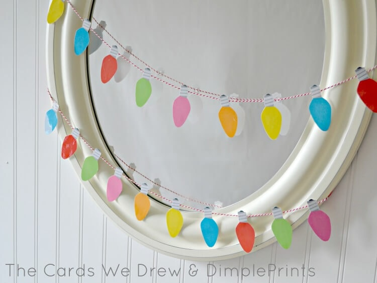 christmas light garland mirror with free printable from dimpleprints - Christmas Light Garland
