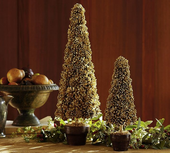 DIY Gold Pinecone Topiary