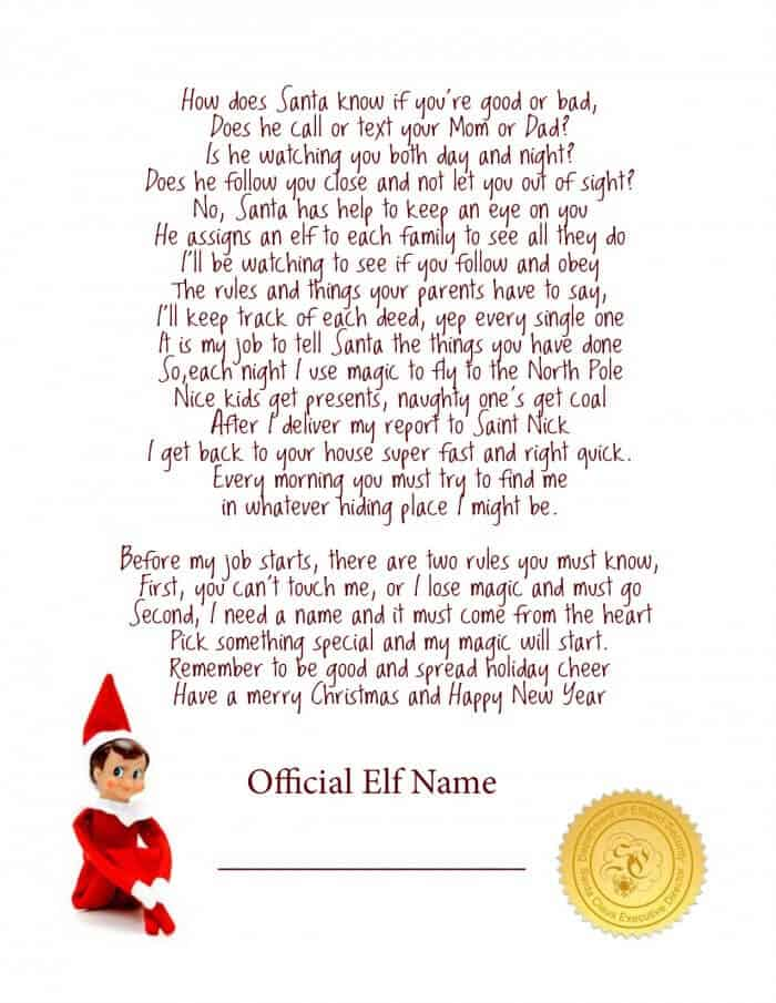 Invaluable image inside elf on shelf letter printable