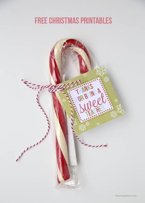 candy cane with christmas printable